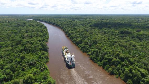 Cargo vessel on Amazonas river